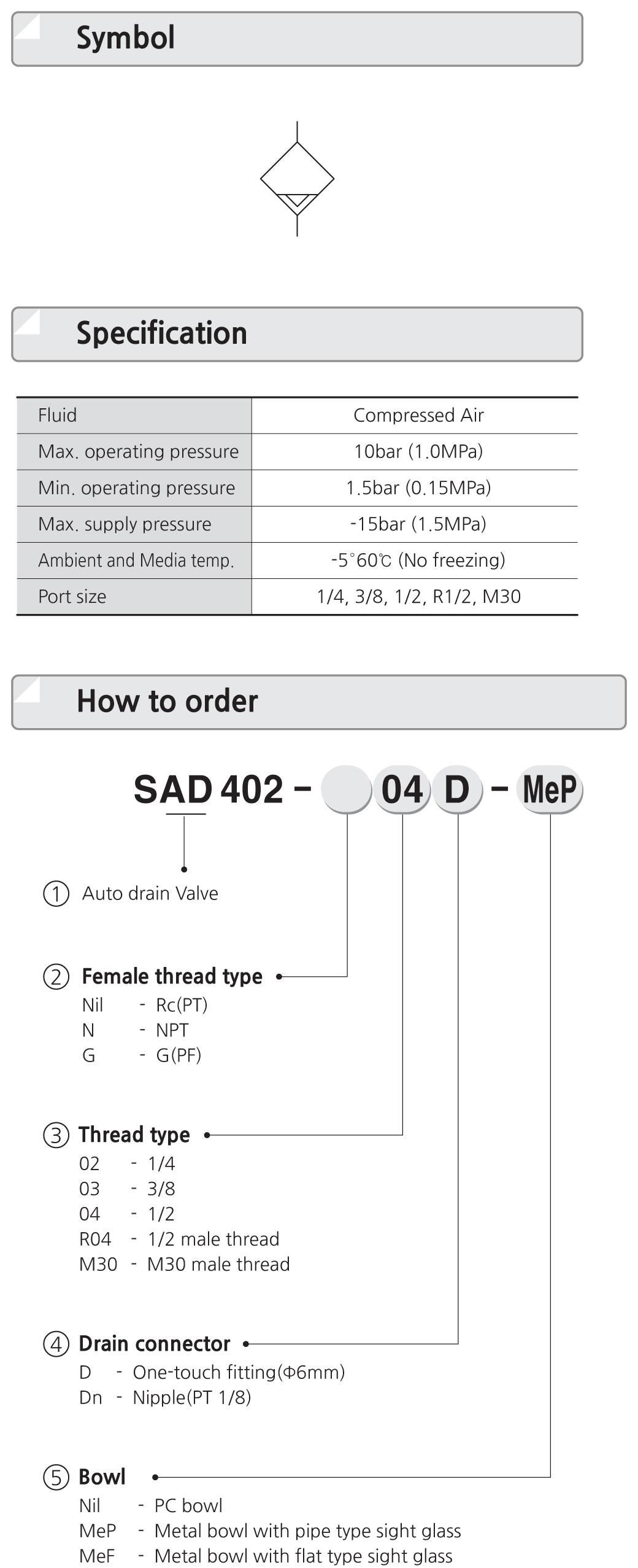 cốc xả nước bình tích | Auto Drain | xả đáy bình tích | bộ xả đáy bình tích áp | thiết bị xả đáy bình ngưng | SAD402-04D | SAD402-03D | SAD402-02D